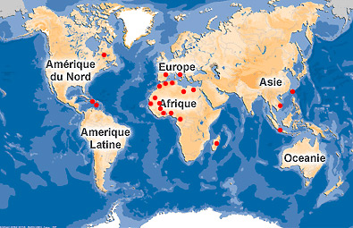 Carte d'implantation d'ESI dans le monde